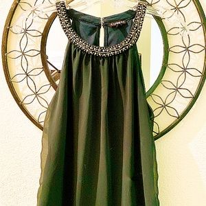 Express Emerald Green halter top with gold beading